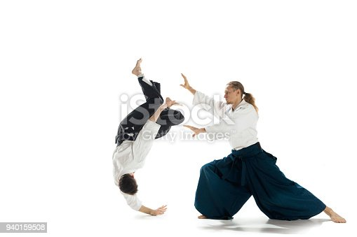istock The two men fighting at Aikido training in martial arts school 940159508