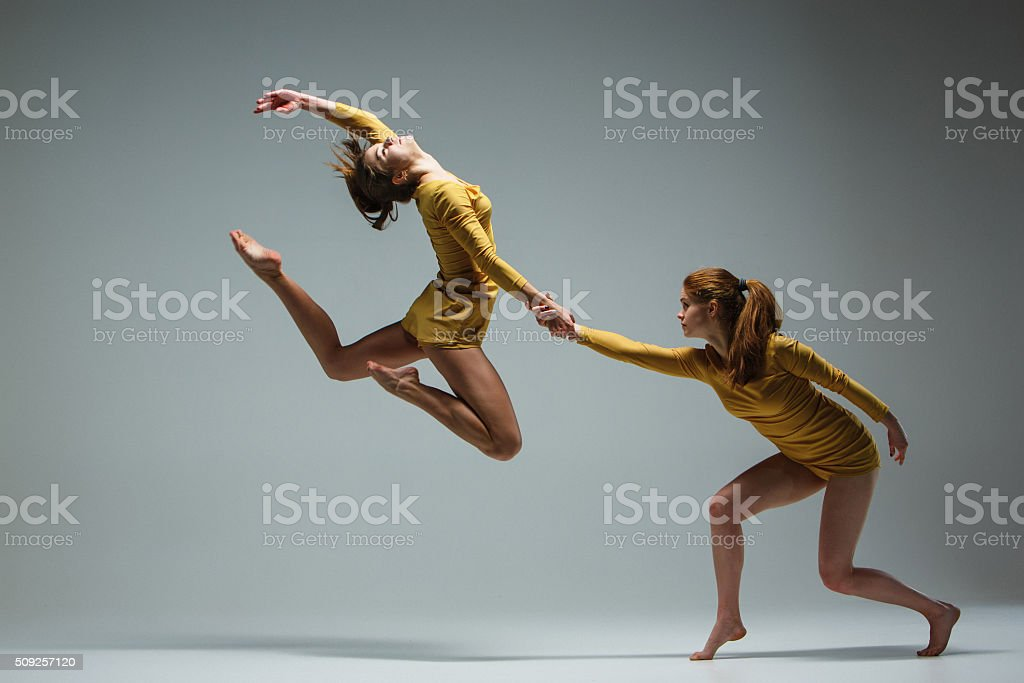 The two modern ballet dancers royalty-free stock photo
