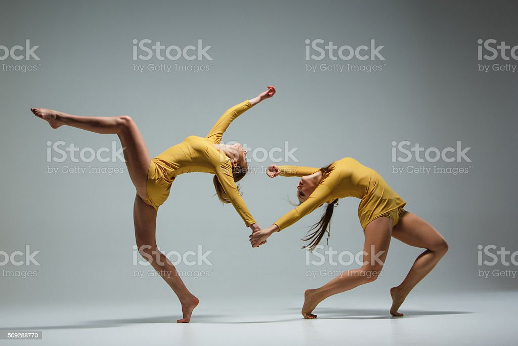 The two modern ballet dancers stock photo