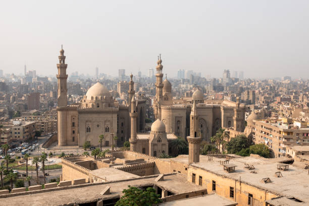 The two mosques Al-Rifa'i and Sultan Hassan in Cairo Egypt stock photo