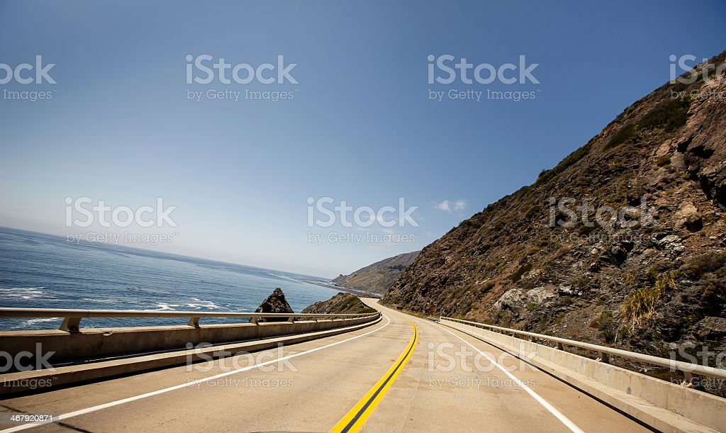 The two-lane coastal highway of California's Route 1 stock photo