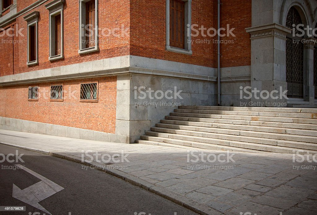 The typical corner of an old street. stock photo