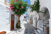 The typical cycladic, whitewashed alleys with colorful flowers at Parikia on the island of Paros, Cyclades, Greece, during summer time