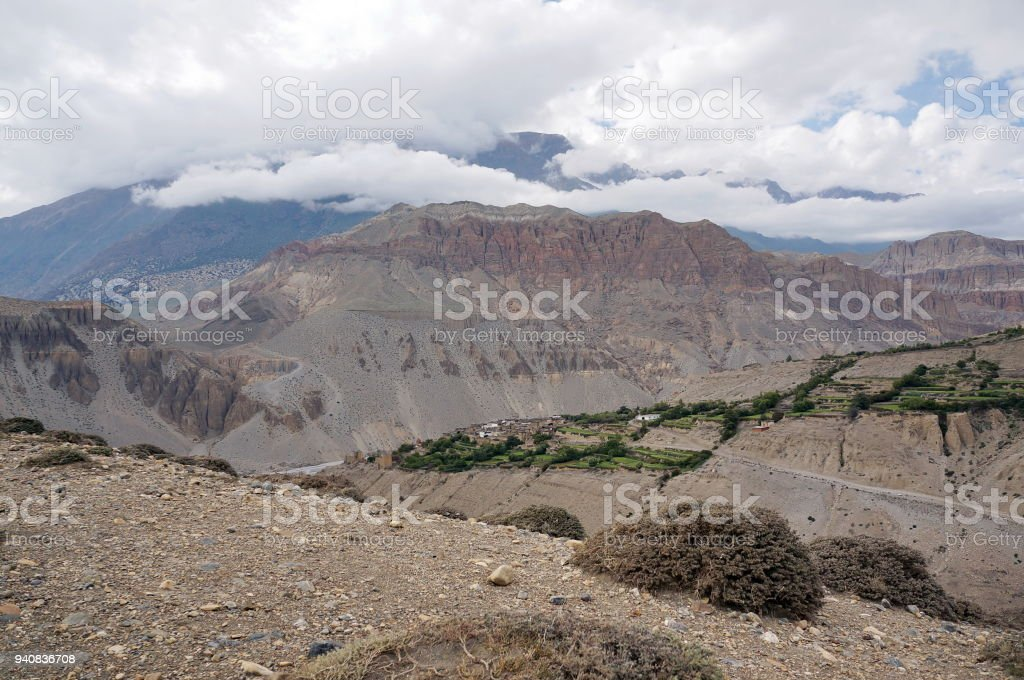 The typical  village of Tangbe (3040 m) in the Himalayan mountains. stock photo