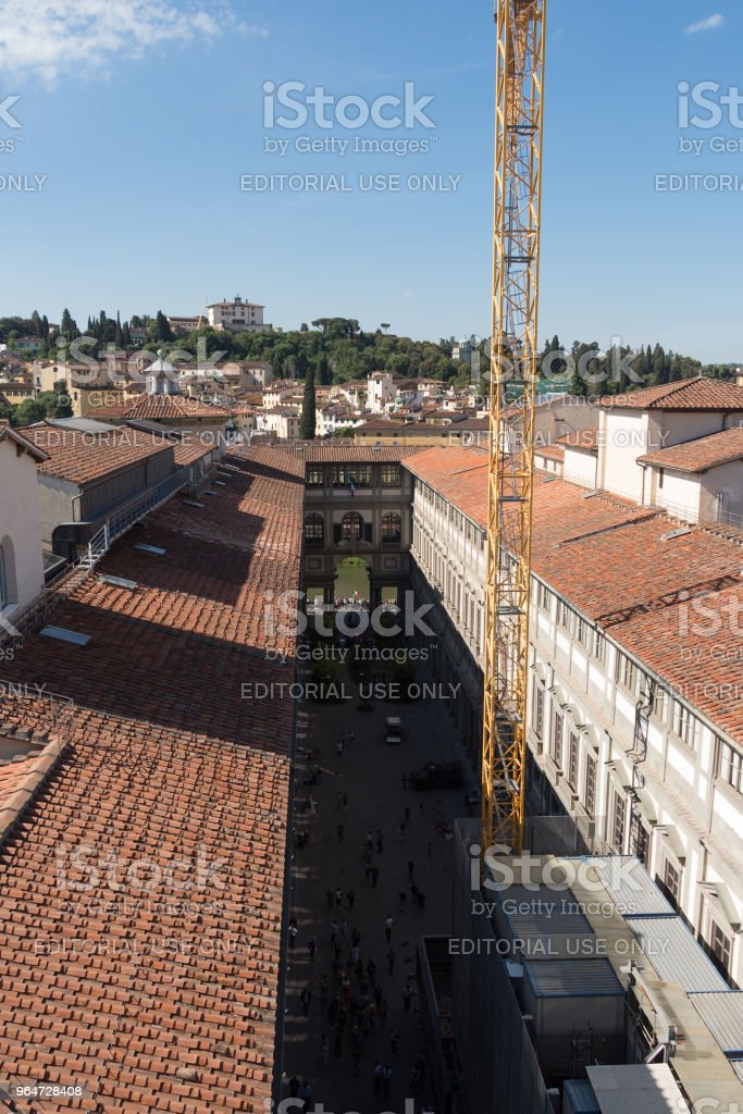 The Uffizi Gallery in a sunny day. View from Palazzo Vecchio. Florence, Tuscany, Italy. royalty-free stock photo
