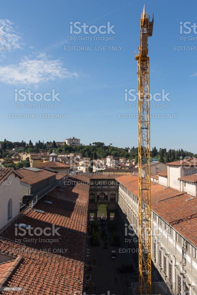 De Uffizi galerij in een zonnige dag. Uitzicht vanaf Palazzo Vecchio. Florence, Toscane, Italië. - Royalty-free Architectuur Stockfoto