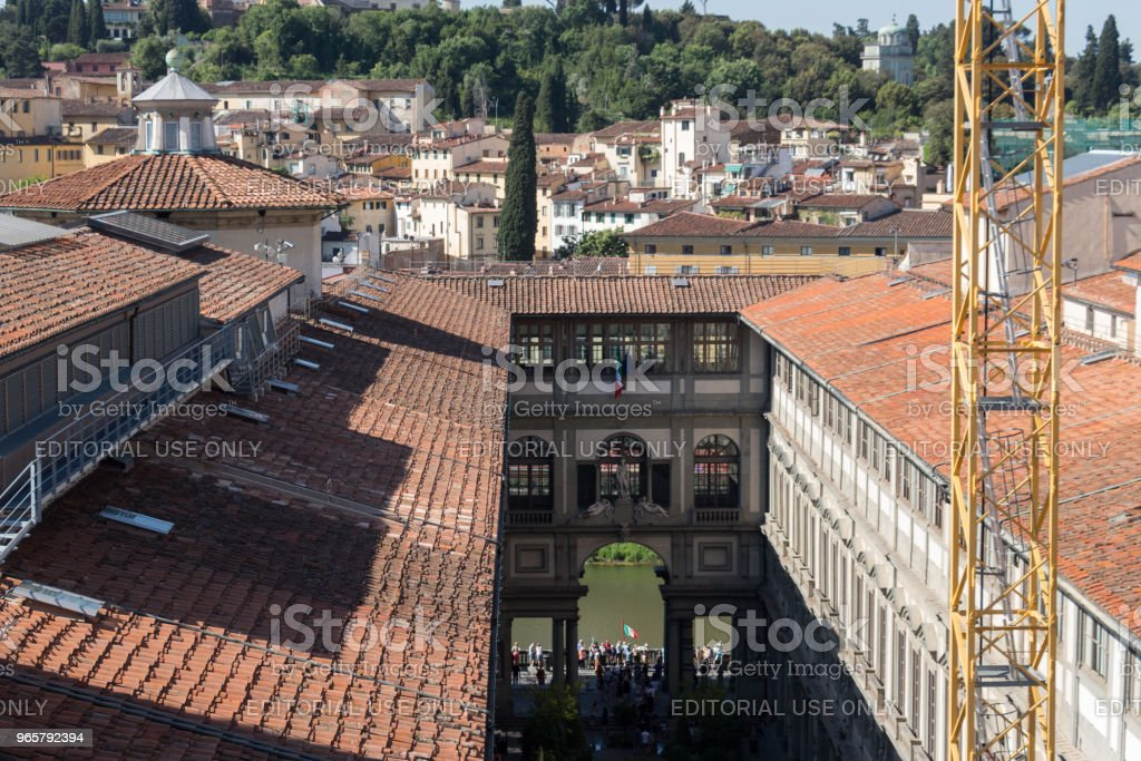 The Uffizi Gallery in a sunny day. View from Palazzo Vecchio. Florence, Tuscany, Italy. - Royalty-free Architecture Stock Photo