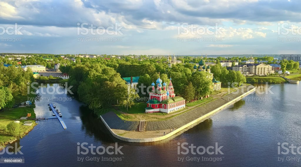 The Uglich Kremlin - aerial view stock photo