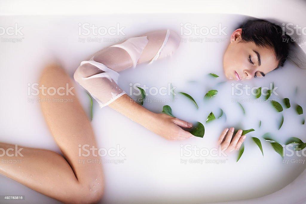 The ultimate DIY milk bath stock photo