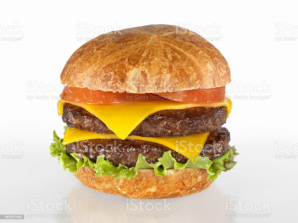 The Ultimate Double Cheeseburger royalty-free stock photo