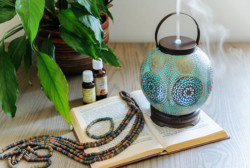 istock The ultrasonic aroma diffuser is made in an old style. 955014466