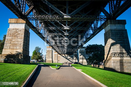A view of the park on the underside of the Sydney Harbor bridge during the day.