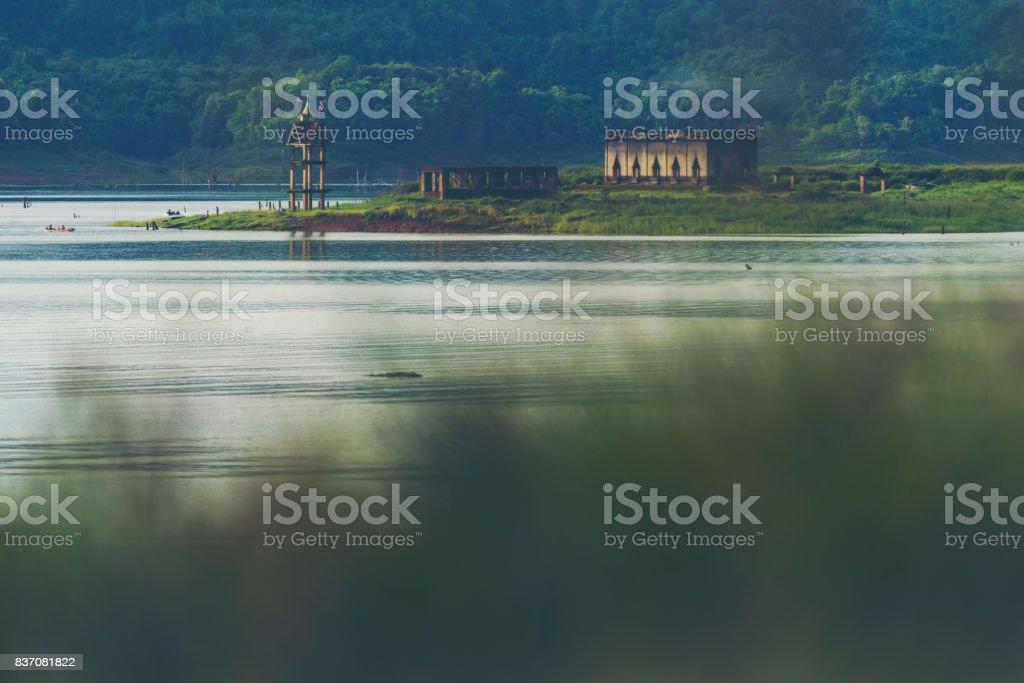 The underwater Buddhist church of Wat Wang Wiwekaram temple stock photo