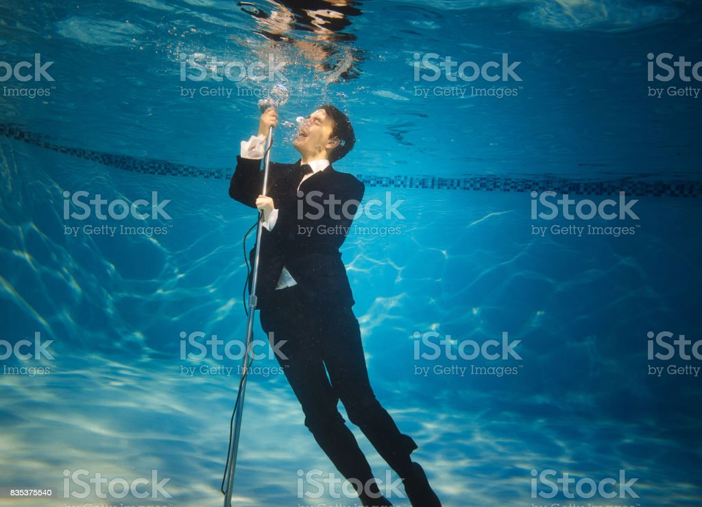 The underwater singer royalty-free stock photo