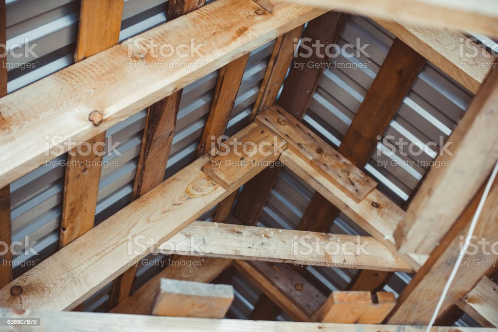 the unfinished roof stock photo