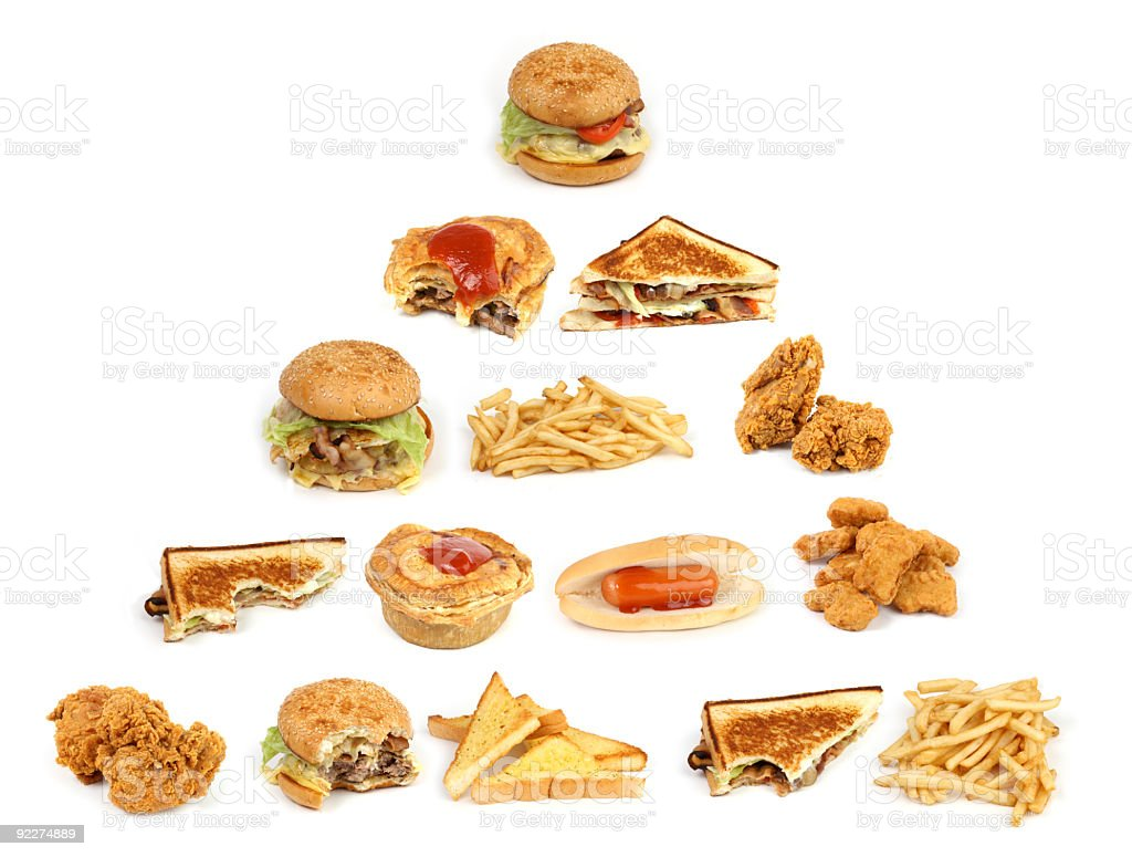 The unhealthy food pyramid royalty-free stock photo