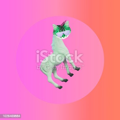 istock the unicorn with the head of a cat in sunglasses. 1026469884