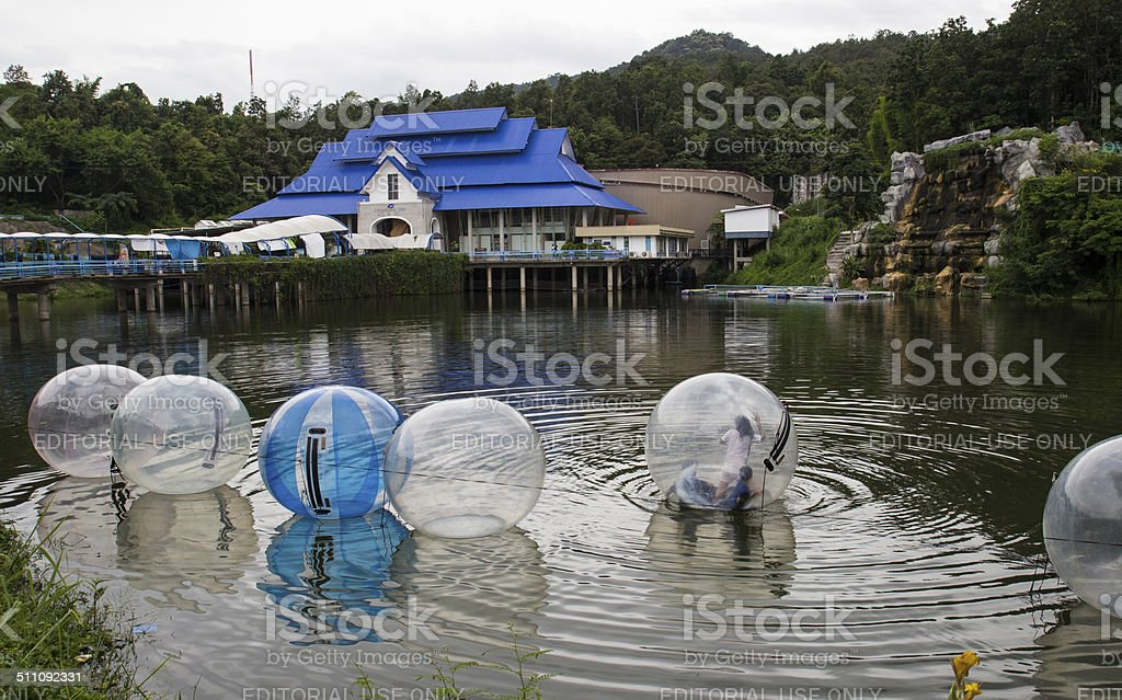The unidentified kids are playing zorbing in the pond stock photo