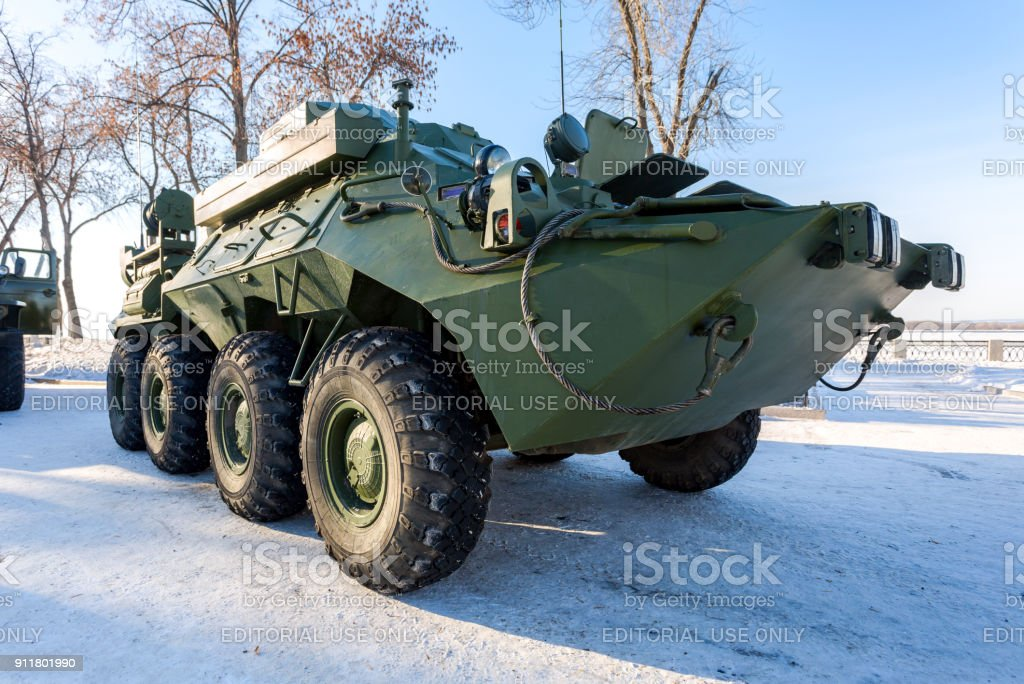 The unified command-staff vehicle R-149MA1 of russian army based on the BTR-80 stock photo