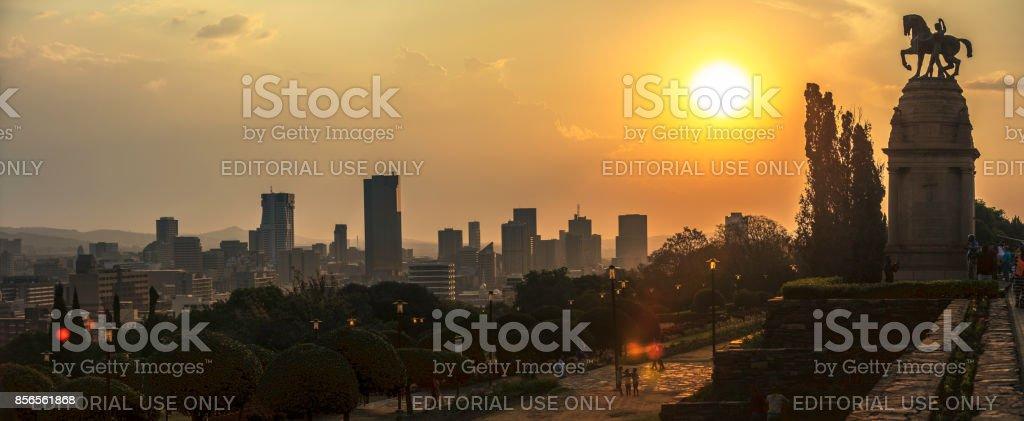 The Union Buildings and Pretoria panorama sunset stock photo