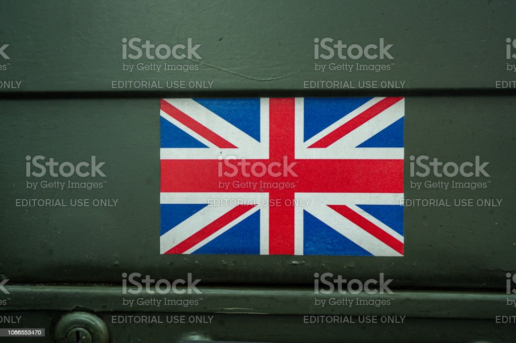 The Union Jack flag of Great Britain on an Army EOD Vehicle at the 100 year Remembrance Day Parade, service (Explosive ordinance disposal) stock photo