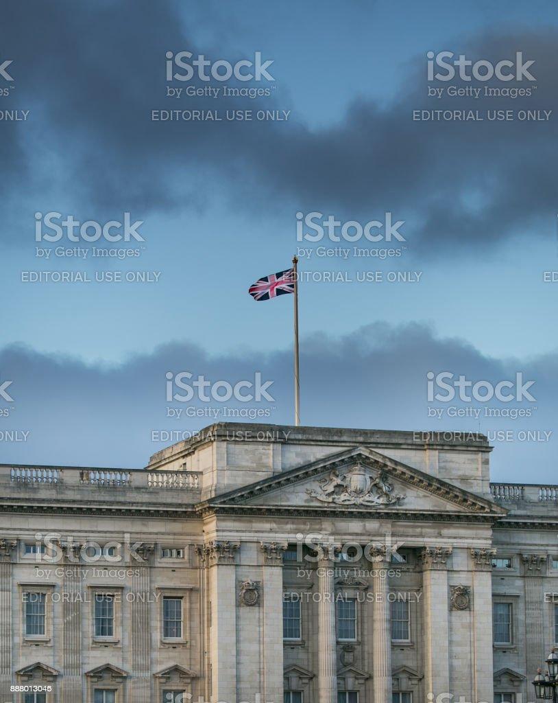 The Union Jack, fluttering above Buckingham Palace, Central London. stock photo
