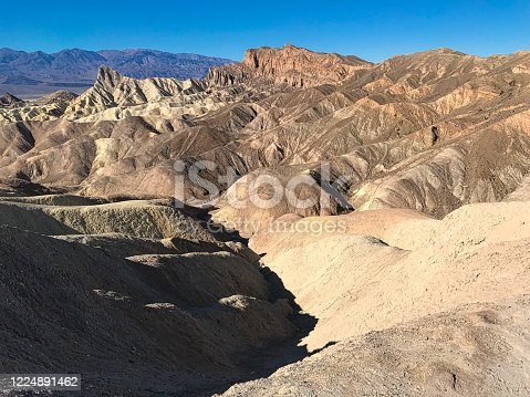 The unique landscape of th Badlands in Death Valley National Park, California, USA - image