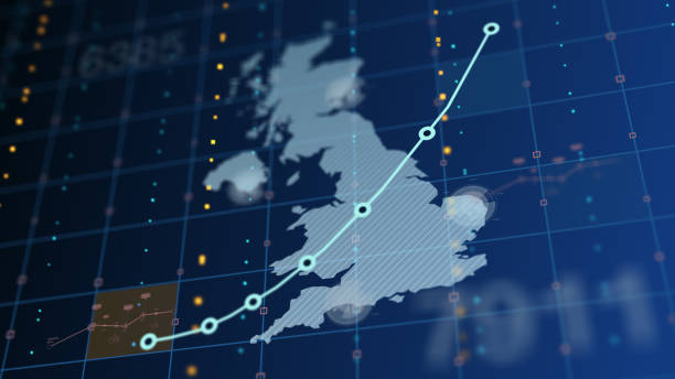 The United Kingdom Rising Chart, Death Tolls, Unemployment Country outline with random numbers and chart increasing uk stock pictures, royalty-free photos & images