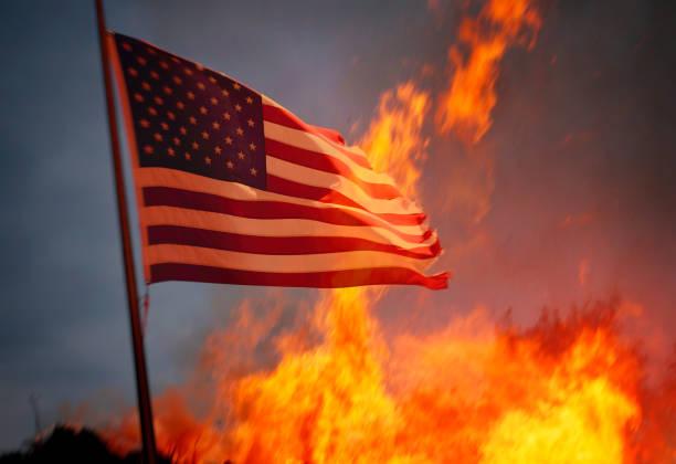 The United States burning stock photo