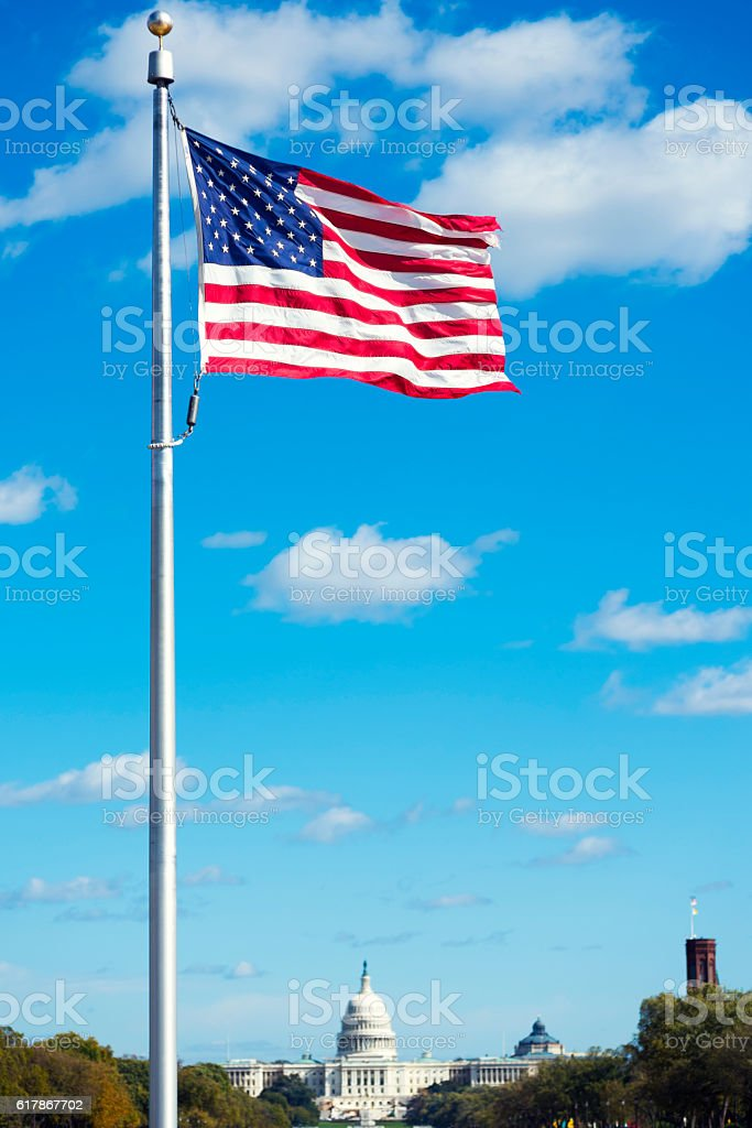 The United States Capitol as Seen from the Washington Monument stock photo