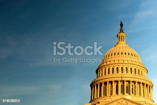 The United States Capitol building against Blue Sky, Washington DC