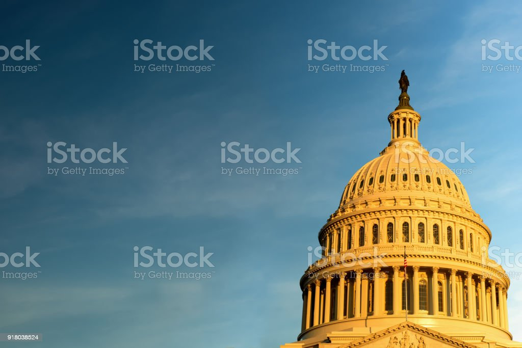 The United States Capitol building against Blue Sky, Washington DC stock photo