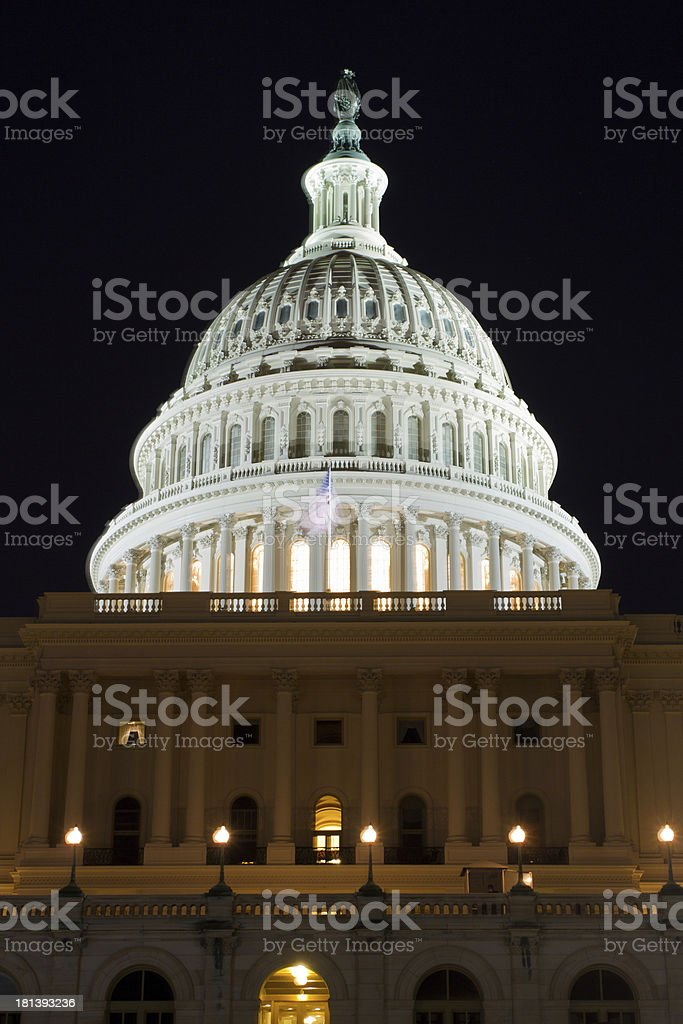 The United States Capitol Building at night, Washington DC stock photo