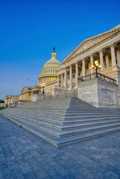 The United States Capitol Building at Sunrise in Washington DC Capital of the USA stock photo