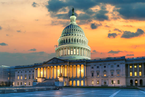 The United States Capitol Building in Washington DC at Sunset US Capitol Building at sunset with American flags is the home of the United States Congress in Washington D.C, USA. state capitol building stock pictures, royalty-free photos & images