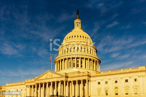 The United States Capitol Close Up with dramatic blue sky, Washington DC
