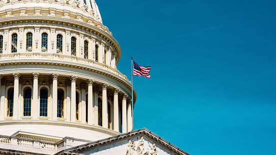 The United States,  Capitol Dome background in retro style