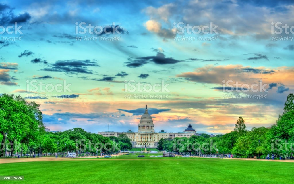 The United States Capitol on the National Mall in Washington, DC stock photo