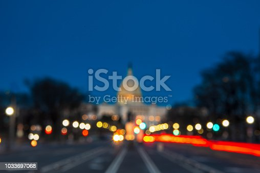 The United States Capitol with Blurred Background after sunset