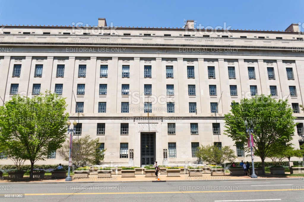 The United States Department of Justice building in Washington DC stock photo