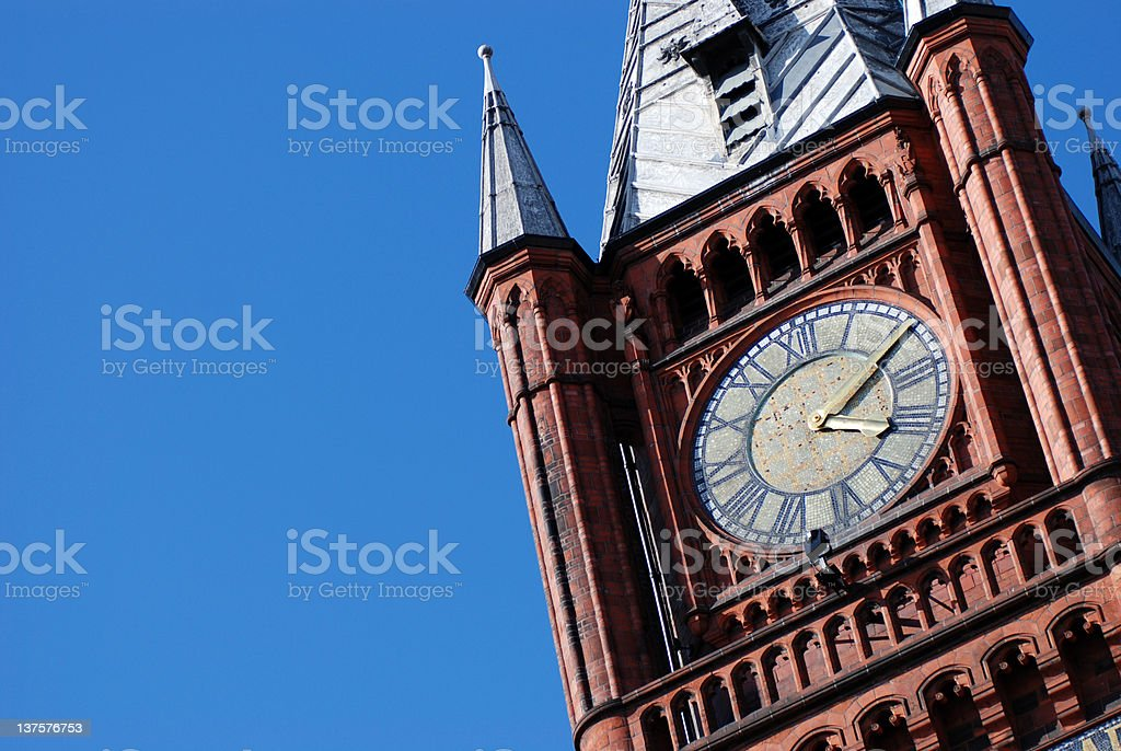 The University of Liverpool Victoria Building clock closeup royalty-free stock photo