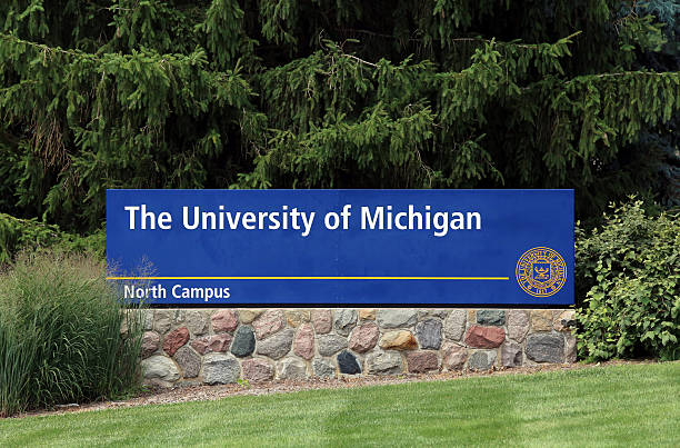 The University of Michigan Ann Arbor, MI, USA - July 30, 2014: An entrance to The University of Michigan. The University of Michigan is a public research university located in Ann Arbor, Michigan. ann arbor stock pictures, royalty-free photos & images