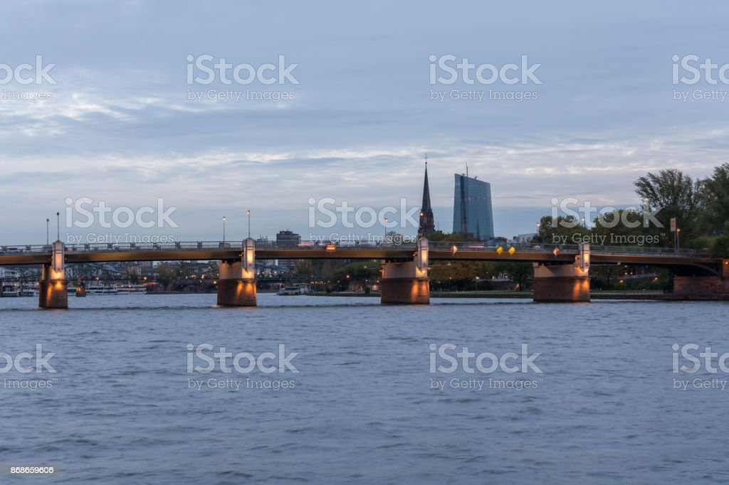 The Untermain bridge over the river Main in Frankfurt with the EZB bulding in the background stock photo