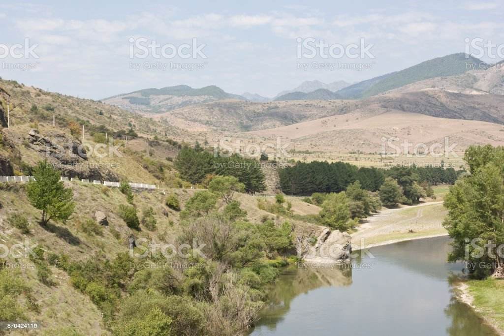 The upper reaches of the river Mtkvari. The Republic of Georgia,Caucasus stock photo
