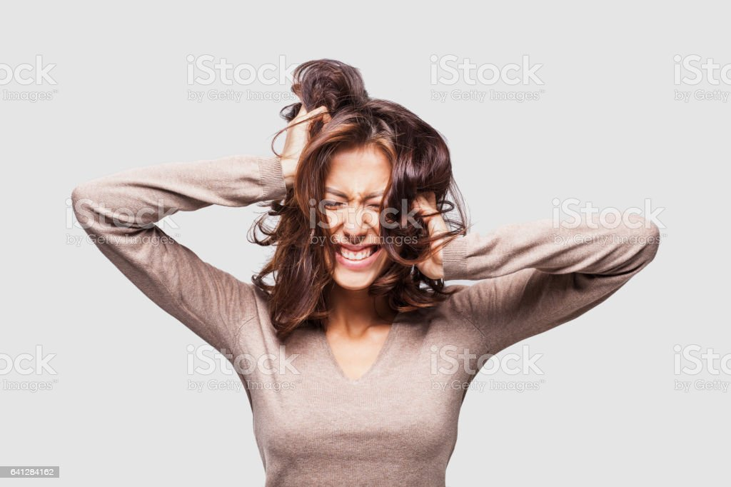 The upset woman having problems stock photo