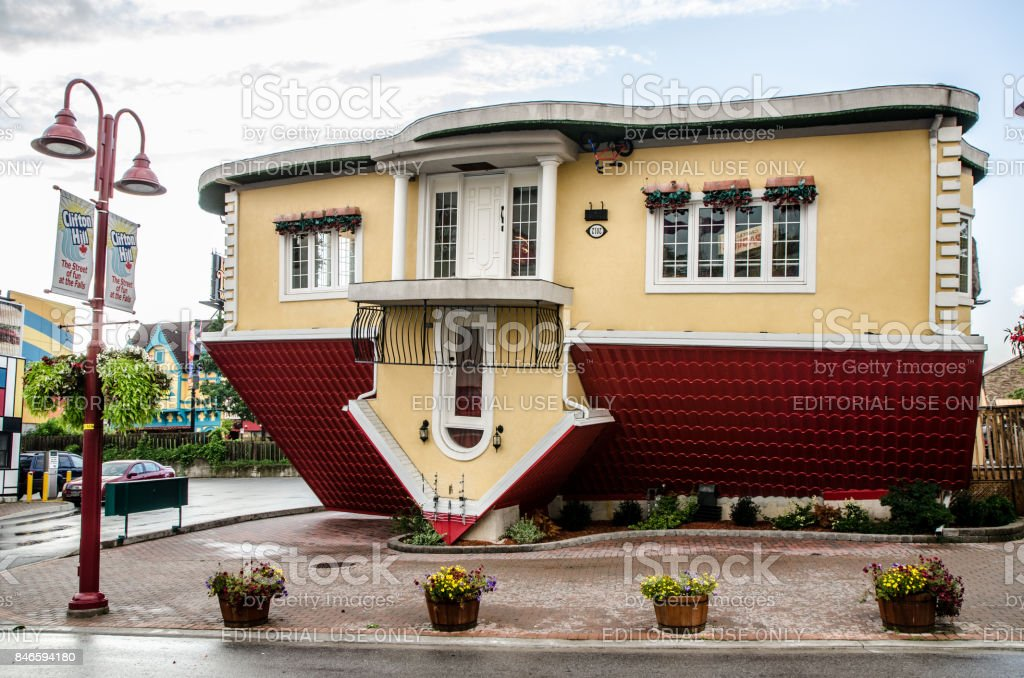 The Upside Down House In Niagara Falls During Summer Day Stock ...