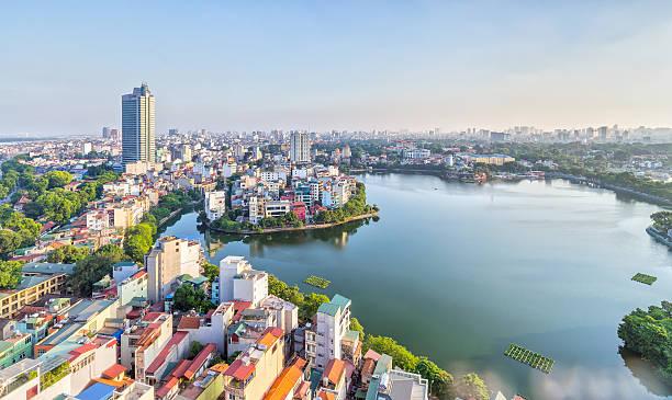 Die städtische Entwicklung der Hauptstadt Hanoi, Vietnam – Foto