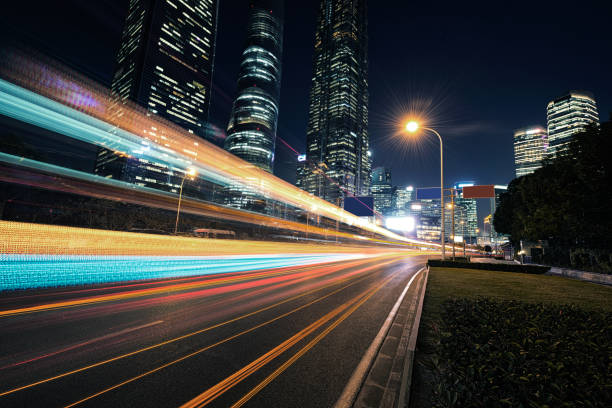 the urban traffic the urban traffic of shanghai city long exposure stock pictures, royalty-free photos & images