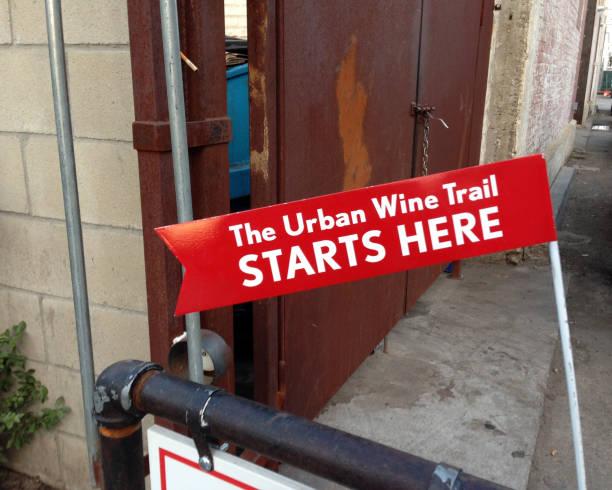 The Urban Wine Trail Starts Here stock photo