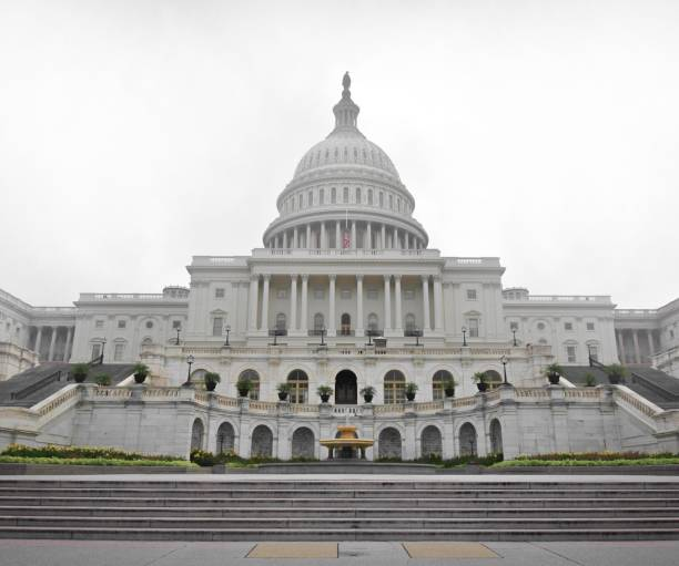 The U.S. Capitol Building on a Foggy Day stock photo